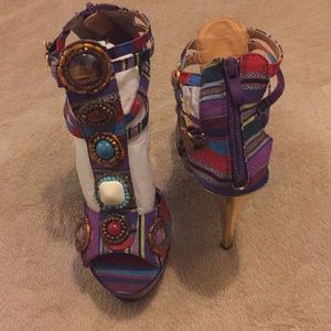 Multicolored Embellished Platform Sandals